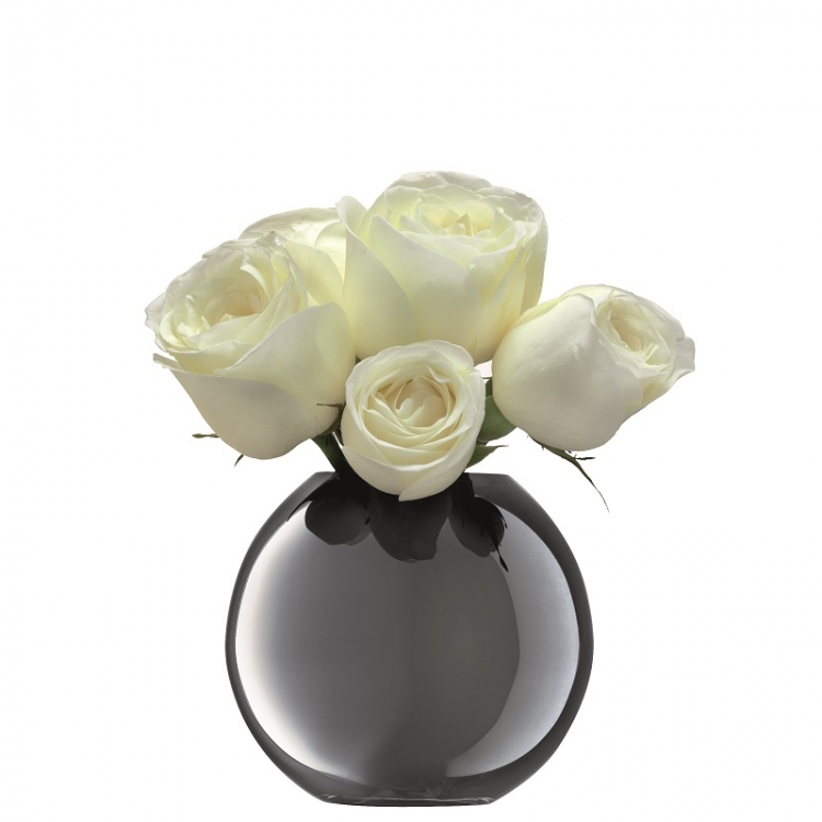 Spherical Vase Polka Platinum H 11cm Home Accessories