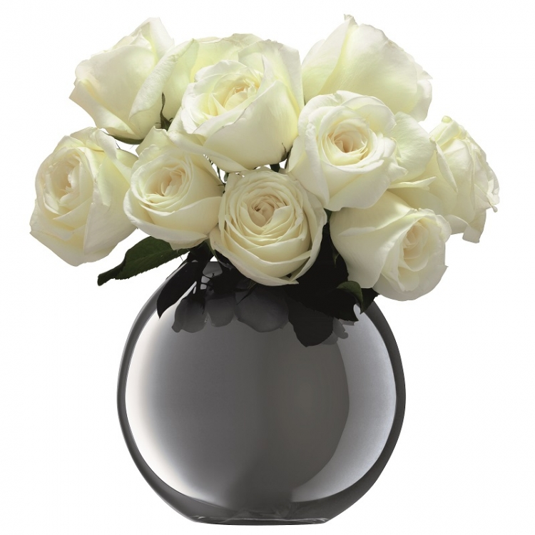 Spherical Vase Polka Platinum H 16cm Home Accessories